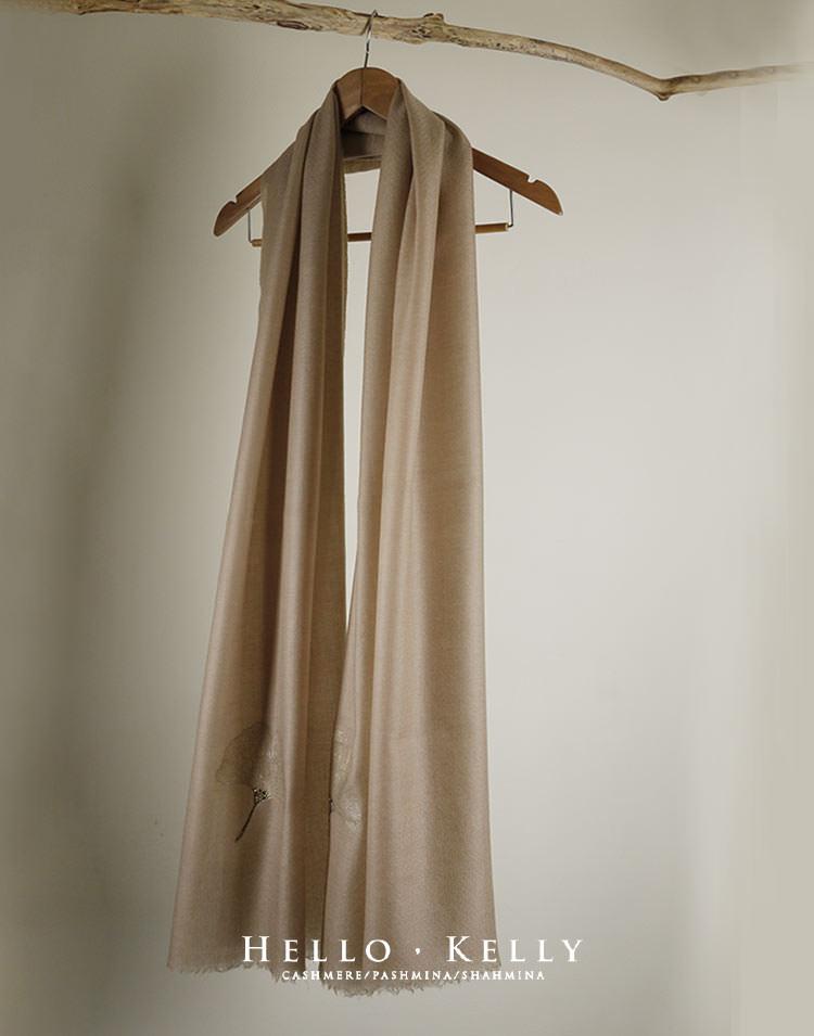 Cashmere Scarf- 喀什米爾Pashmina羊絨披肩佐鑲Swarovski水鑽細繡