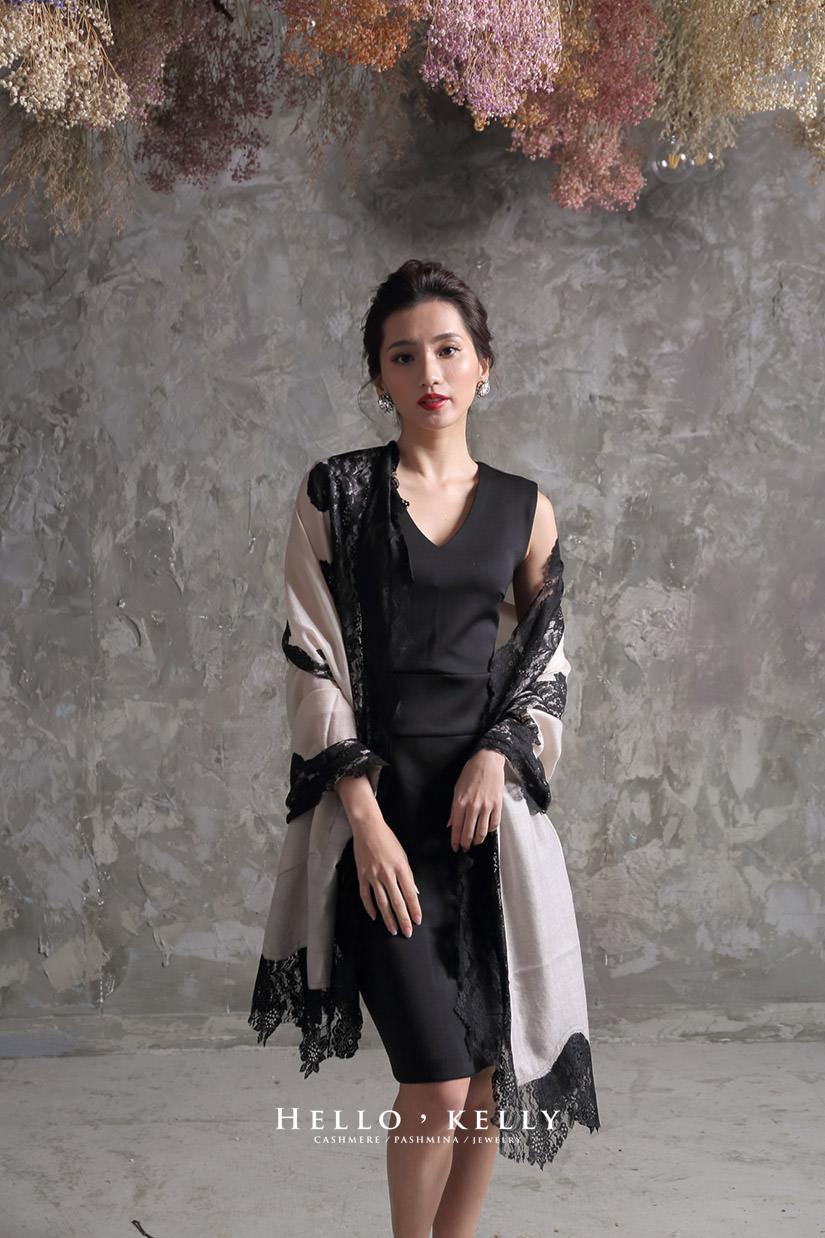 《 喀什米爾圍巾蕾絲Cashmere100%羊絨圍巾披肩,結婚禮物推薦款 》