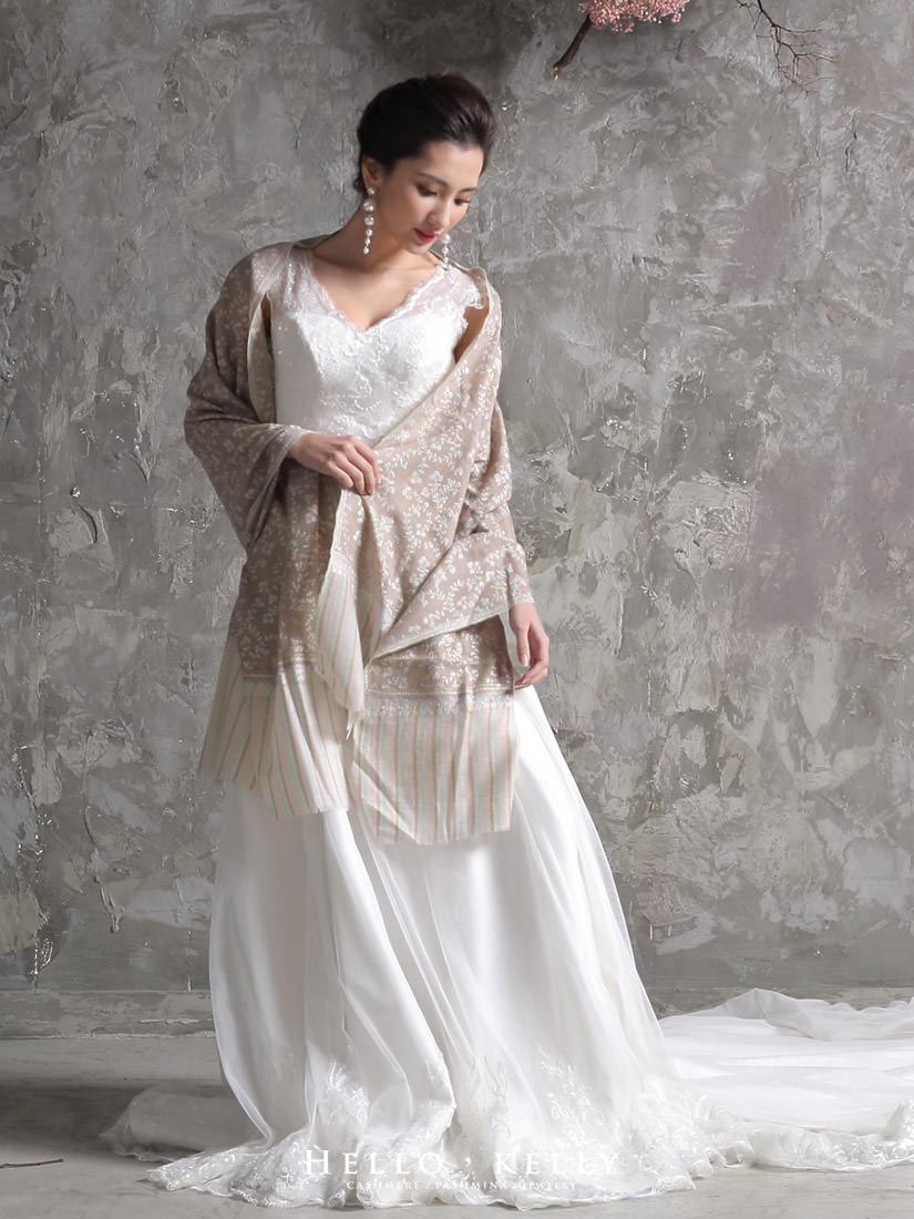 喀什米爾圍巾刺繡Cashmere100%羊絨羊毛圍巾披肩,結婚禮物推薦款