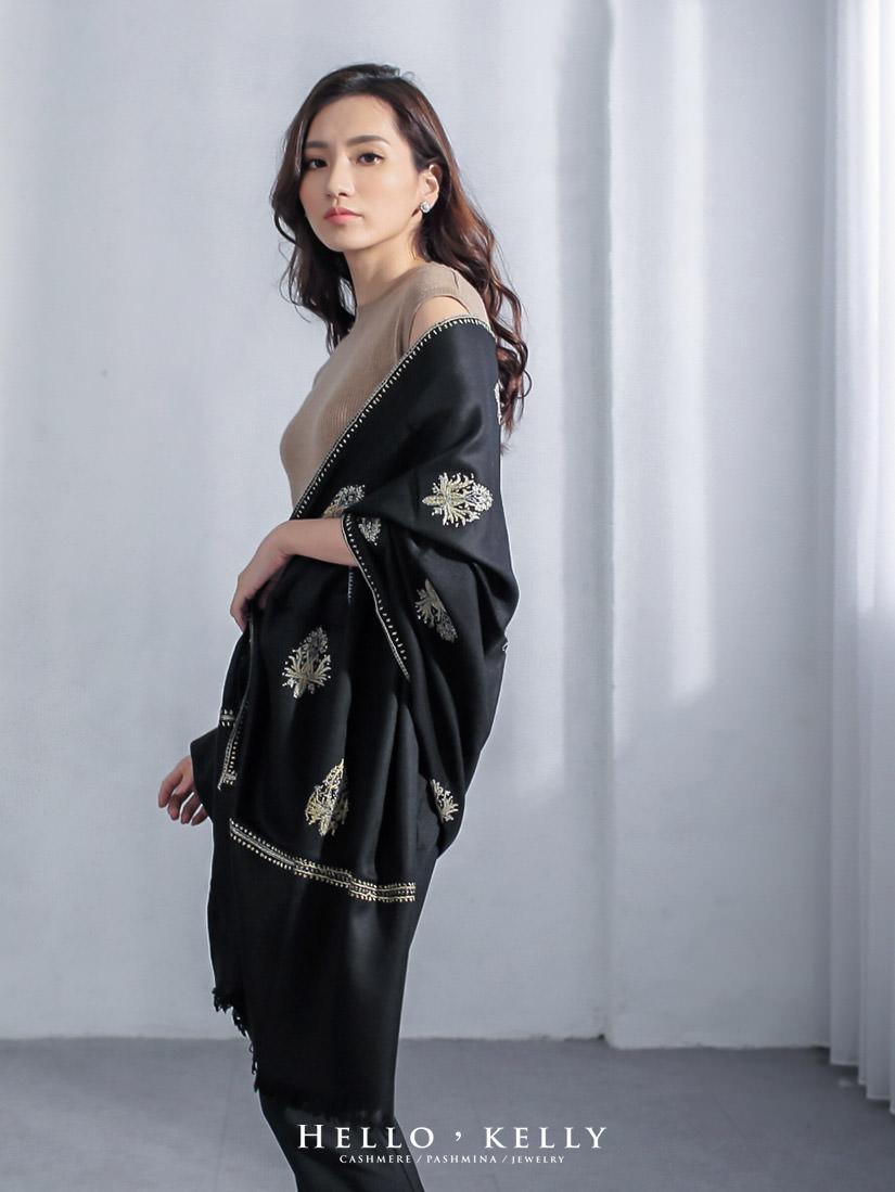 喀什米爾羊毛圍巾披肩刺繡款
