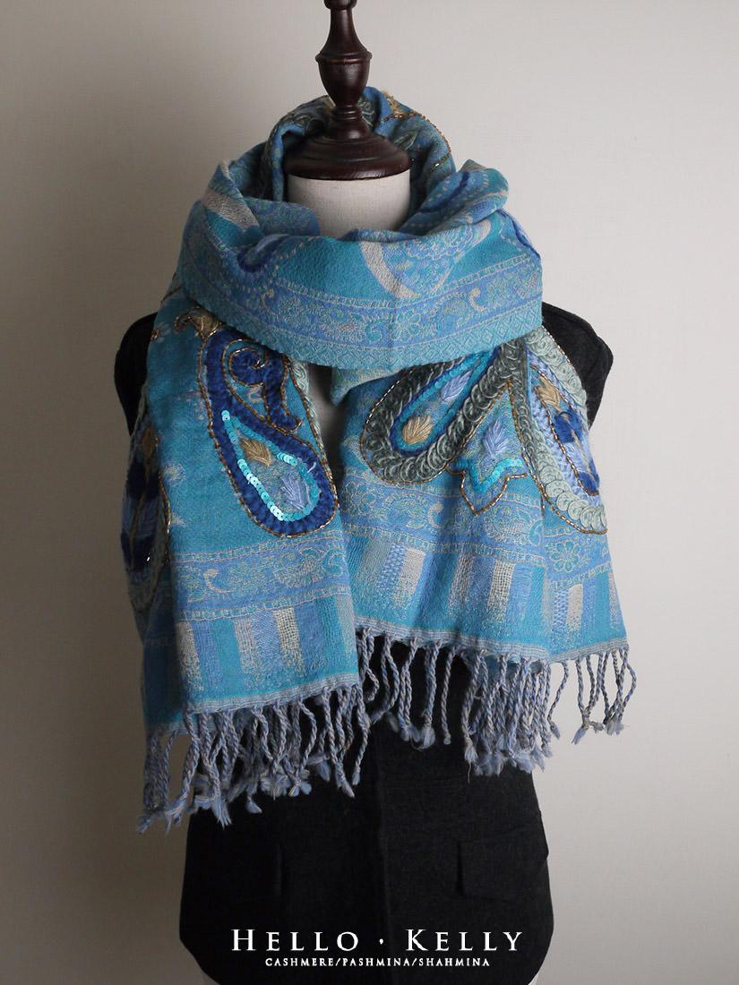 水煮羊毛圍巾佐手工刺繡,厚款羊毛佐鑲珠,寒冷冬天保暖禦寒,來自印度尼泊爾聖誕交換禮物尾牙披肩推薦。