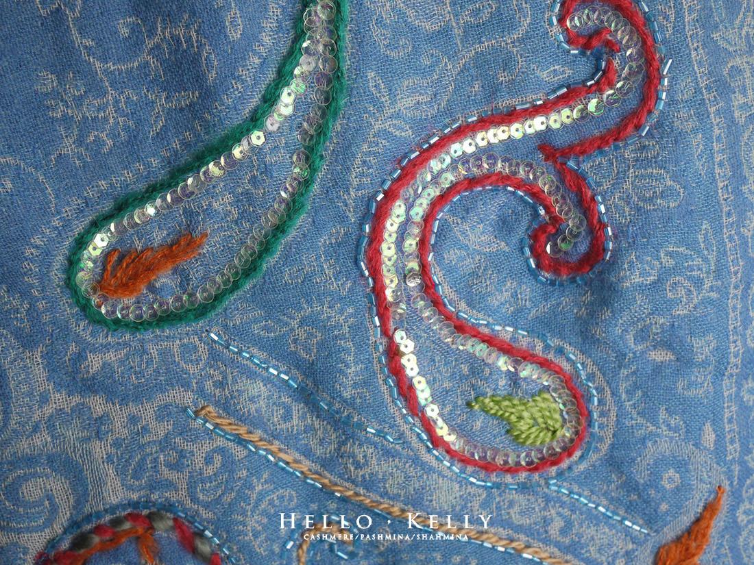 水煮羊毛圍巾披肩佐鑲珠手工刺繡#Bo70