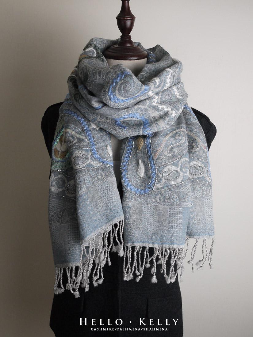 水煮羊毛鑲珠刺繡款圍巾披肩#Bo67