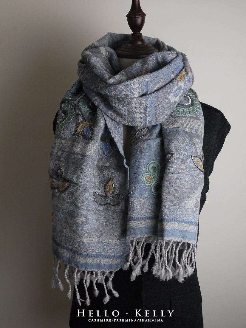 水煮羊毛刺繡佐鑲珠圍巾披肩#Bo66