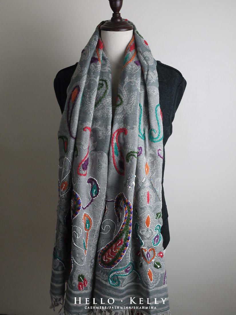 水煮羊毛圍巾推薦款-五彩刺繡鑲珠#Bo63