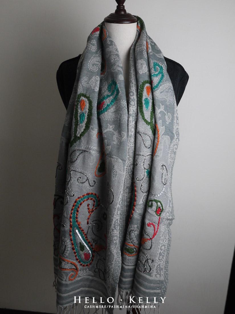 聖誕禮物圍巾披肩推薦-刺繡水煮羊毛圍巾披肩#Bo62