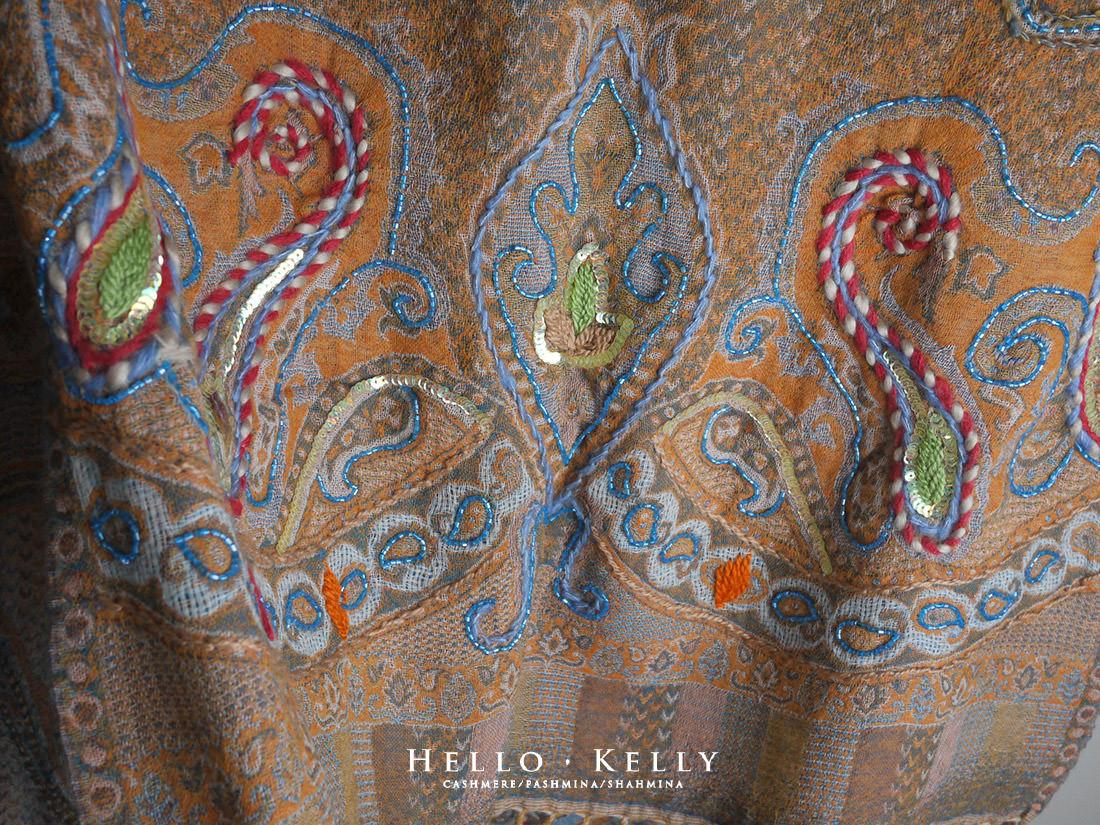 水煮羊毛圍巾披肩佐鑲珠刺繡來自印度尼泊爾#Bo58
